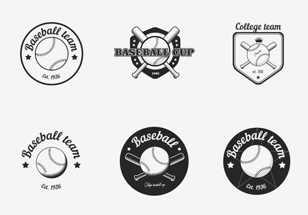 softball: Set of vintage black and white baseball championship icon badges