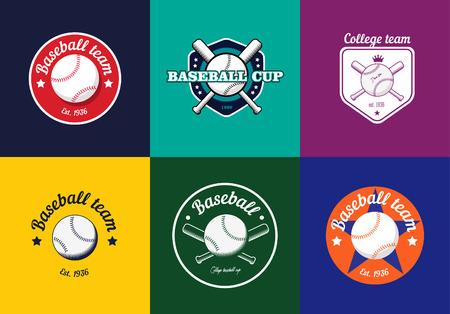 beisbol: Conjunto de colores de la vendimia logotipos del campeonato de béisbol e insignias