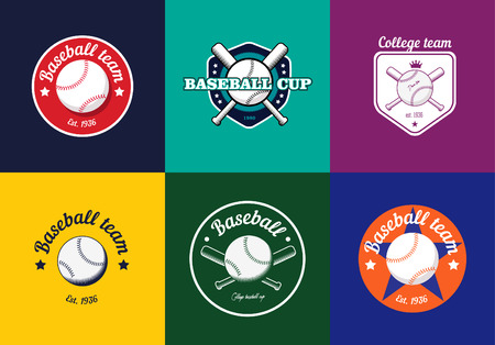 baseball: Set of vintage color baseball championship logos and badges