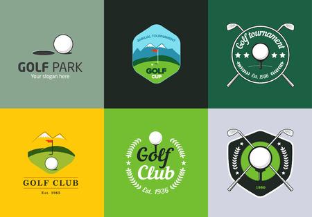 bandera blanca: Conjunto de colores de la vendimia logotipos de campeonato de golf e insignias