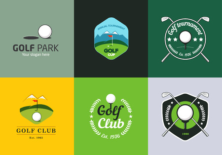 flag icons: Set of vintage color golf championship logos and badges