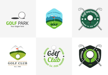 golf: Set of vintage color golf championship logos and badges