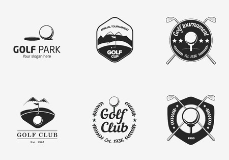 golf clubs: Set of vintage black and white golf championship logo badges