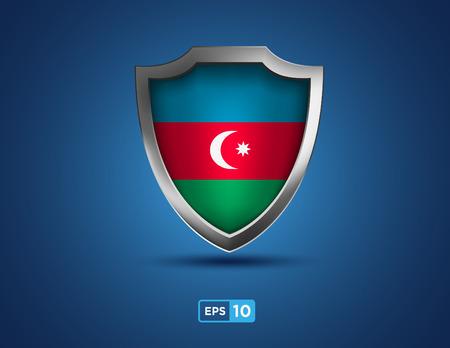 Azerbaijan shield on the blue background Vector
