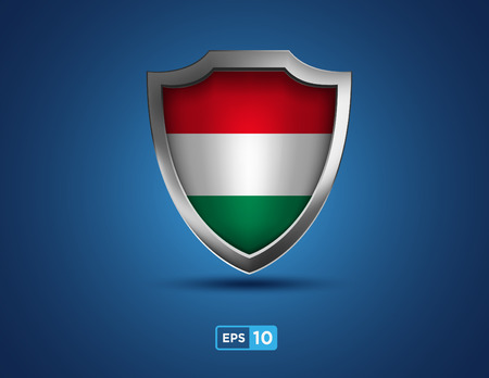 magyar: Hungary shield on the blue background
