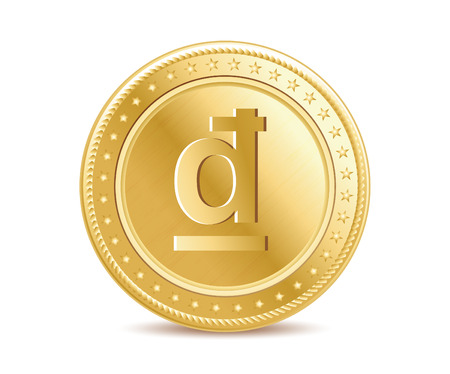 dong: Golden isolated dong coin on the white background