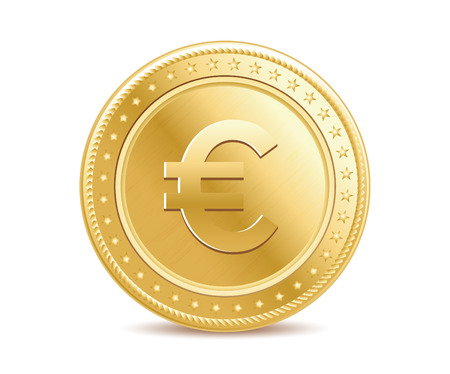 Golden isolated euro coin on the white background Çizim