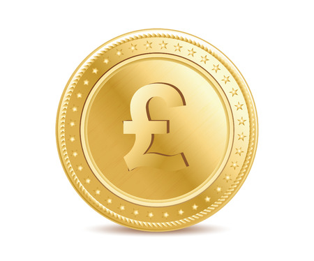 pound coin: Golden pound sterling coin on the white background