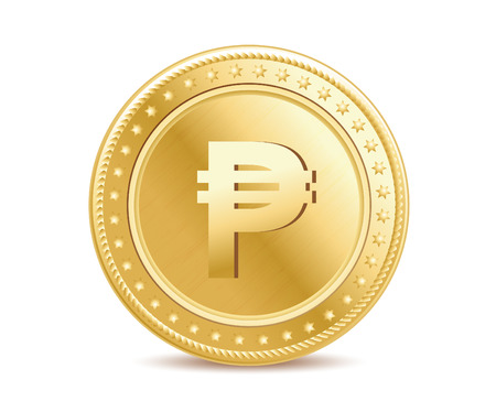 Golden isolated peso coin on the white background