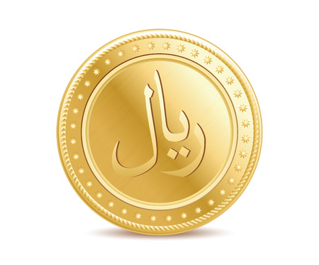 Golden arabic riyal coin on the white background Illustration