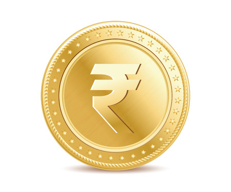 Golden isolated rupee coin on the white background