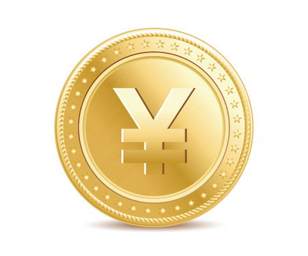 Golden isolated yen coin on the white background Çizim