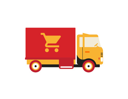 Red retro vintage delivery truck with cart icon isolated on white background Illustration