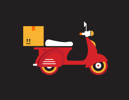 motor bike: Red retro vintage delivery motor bike icon isolated on dark background