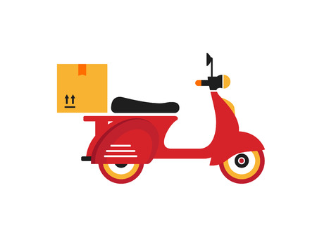 motor scooter: Red retro vintage delivery motor bike icon isolated on white background Illustration