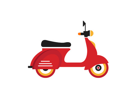 motor scooter: Red retro vintage motor bike icon isolated on white background Illustration