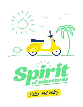 zomer typografie poster met platte retro moto