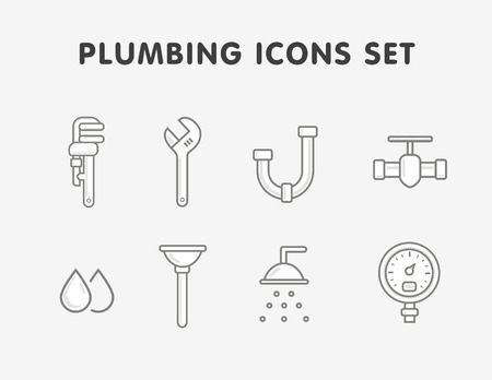 tube wrench: plumbing flat line icons set