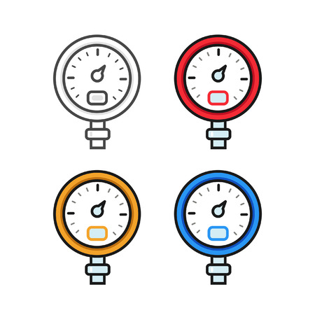 pressure gauge: Manometer pressure gauge and vacuum gauge icons