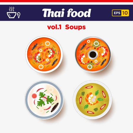 Thai food icon set. Hot spicy chilly soups with shrimps and coconut milk