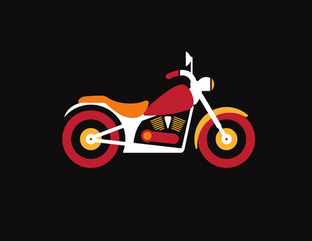 Red retro vintage motorcycle icon isolated on dark background Vector