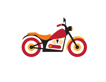 computer repairing: Red retro vintage motorcycle icon isolated on white background