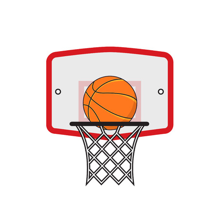 Basketball hoop and orange ball on the white background