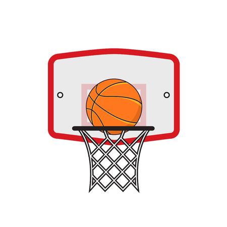 Basketbalring en oranje bal op de witte achtergrond Stock Illustratie