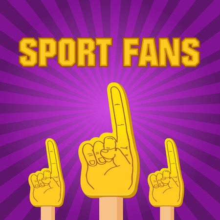 cartoon numbers: color sport fans foam fingers on the retro background