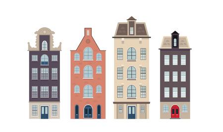 sidewalk cafe: Urban european houses on the white background Illustration