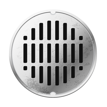 sewer: Top view of the closed sewer manhole. Image isolated on white background
