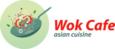 wok: Wok cafe template. Illustration