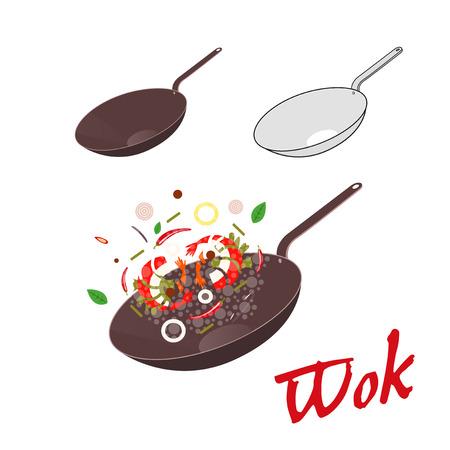 Wok illustration. Asian frying pan. Concept illustration for restaurant Vettoriali