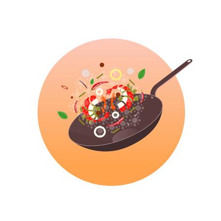 Wok illustratie. Aziatische koekenpan. Concept illustratie voor restaurant