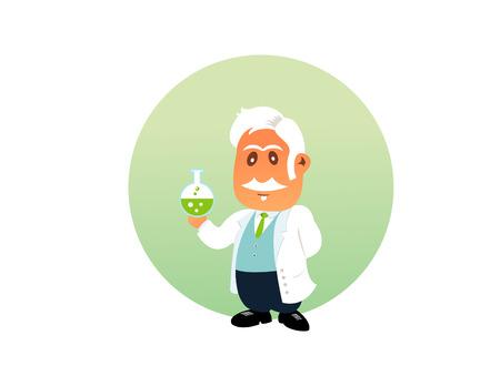 chemist: Chemist funny illustration on the white background