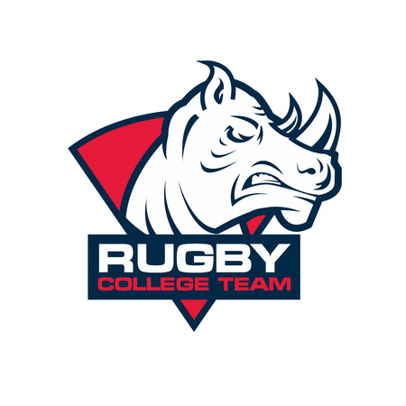 rugby: rhino head sport . Rugby badge template