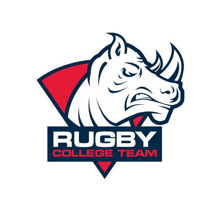 rhino: rhino head sport . Rugby badge template
