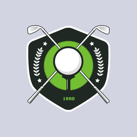 championship: Vintage color golf championship badge