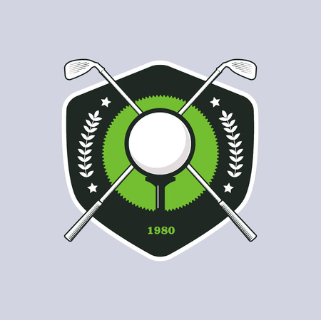 Vintage color golf championship badge