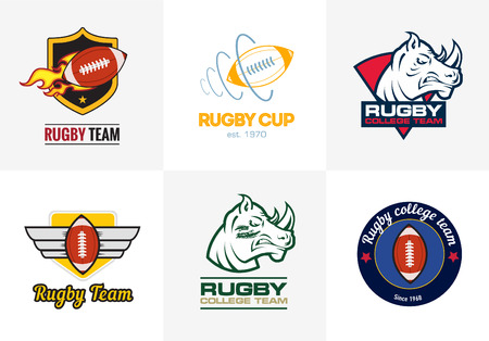 Set of vintage color rugby championship logos and badges Vettoriali