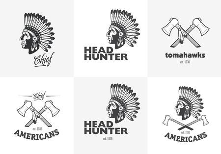 Set van de Amerikaanse Indianen emblemen, etiketten, insignes,