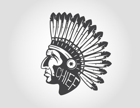 indian chief headdress: native american indian chief headdress indian chief mascot, indian tribal headdress, indian headdress Illustration