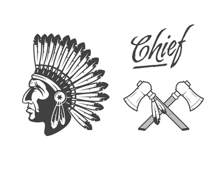 indian chief: native american indian chief headdress indian chief mascot, indian tribal headdress, indian headdress Illustration