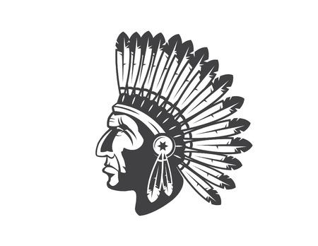 네이티브 아메리칸 인디언 수석 머리 장식 인도의 최고 마스코트, 인도 부족의 머리 장식, 인도의 머리 장식 일러스트