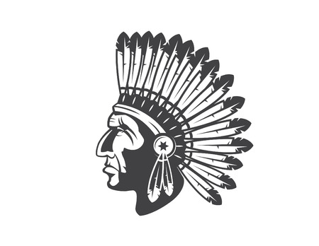 native american indian chief headdress indian chief mascot, indian tribal headdress, indian headdress Illustration