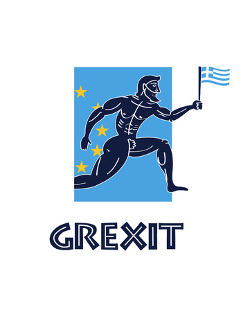 go out: Greece crisis (grexit) illustration. Greek runner with national flag go out from european union