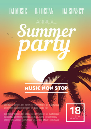 beach sunset: Summer Beach Party Flyer