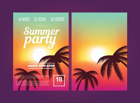 여름 해변 파티 전단