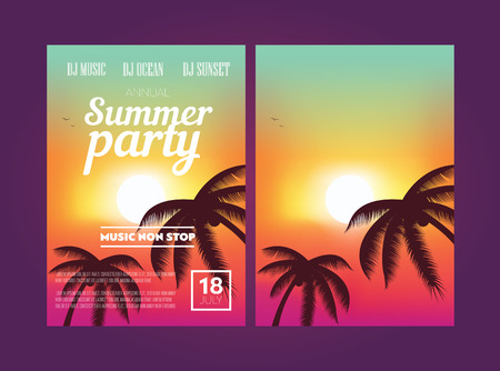 sunset tree: Summer Beach Party Flyer