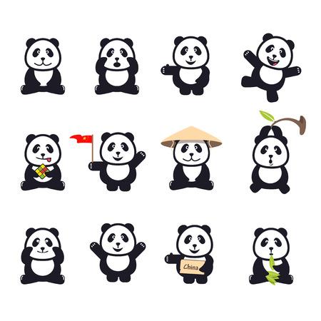 oso panda: conjunto de dibujos animados divertidos lindos pandas Vectores